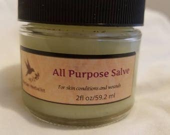 All Purpose Salve, herbal healing salve, all natural salve, dry skin, damaged skin, ointment, skin balm, natural skin balm, herbal balm