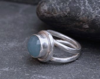 Handmade Blue Chalcedony and Sterling Silver Ring.