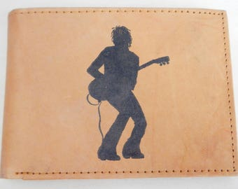 "Mankind Wallets Men's Leather RFID Blocking Billfold with ""Guitar Player"" Image~Makes a Great Gift!"