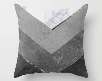 Marble Pillow, Black Marble, Minimalist Pillow, Chevron pillow, Scandinavian  pillows, Decorative