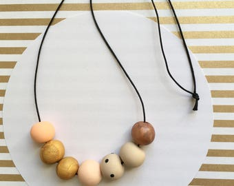 Handmade Blush Copper Polymer Clay Bead Necklace