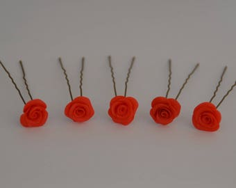 Hair pins wedding red roses, red hair - red hair pins, flower head pins 5 pins