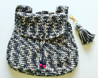 SALE ~~ Women's Backpack Purse - Crochet - Handmade - Small Backpack - Outdoor Bag - Shopping Bag