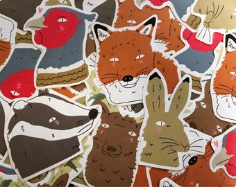 British Wildlife Sticker Pack- Kawaii Nature.