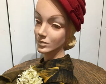 Original 1950's Lipstick Red tiered Hat - Made by 'Henry Pollack adorned with a Simple bow
