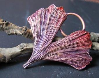 copper ginkgo biloba real leaf blue pendant
