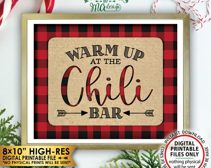 """Warm Up at the Chili Bar Sign, Lumberjack Chili Sign, Red Checker Chili Buffet Sign, Christmas Decorations, PRINTABLE 8x10"""" Instant Download"""