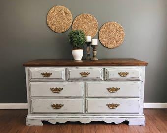 SOLD***Vintage Grey Distressed Dresser