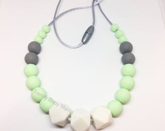 Silicone Teething Necklace - Baby Chew Beads - BPA Free - Mom - Pastel Mint  Gray - Gender Neutral - Hexagon - Teething Chewable Jewellery