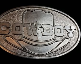 1978 Capt Hawks Sky Patrol Cowboy 10 Gallon Hat Belt Buckle - Cast Metal - Made in USA