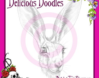 Greyscale Jack Rabbit, Hare, Sketch, Illustration, Digital Stamp, Colouring Page, Coloring Page