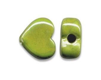 1 heart ceramic Greek 12 x 10 mm yellow green