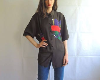 Vintage Oversized Black with Anstract Pattern Button Up Blouse