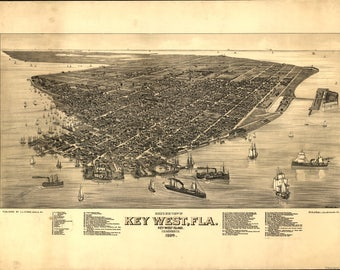 Key West, FL. Panoramic Map from 1885. This print is a wonderful wall decoration for Den, Office, Man Cave or any wall