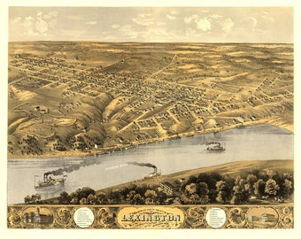 Lexington MO Panoramic Map dated 1869. This print is a wonderful wall decoration for Den, Office, Man Cave or any wall.