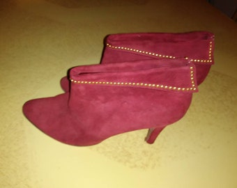1930s burgundy suede studded booties.