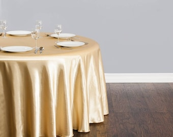 GOLD SATIN TABLECLOTH, 108 inches, Round, 50th Wedding Anniversary, Gold Decor, Wedding Decor, Party Supplies, Party Tablecloth