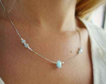 Necklace fine 925 sterling silver, aquamarine stone Navy, blue amazonite beads