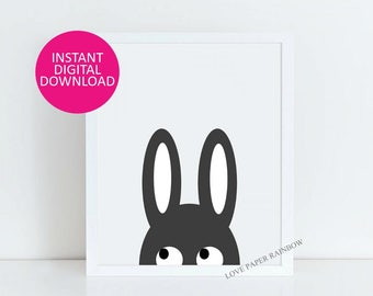 Bunny Illustration Children's Art Print, nursery Poster, Grey Rabbit Nursery Wall Art, woodland Modern Kids Print, baby gift