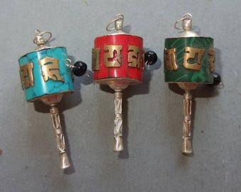 Three Buddhist Metal Amulets Pendants with Prayer Wheel Shape, Buddhist Jewelry, Folk Amulet, Tribal Art, FREE SHIPPING