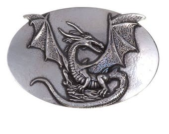 Rock dragon belt buckle  40mm -Hand Made and Design in UK