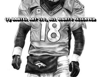 MANNING MILLER WARE Thomas Sanders Denver Broncos Superbowl 50 Lithograph Pencil drawing print set 8x10 Limited Edition of 10K