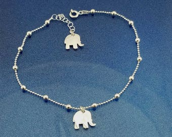 Sterling Silver Anklet, Two Elephants Dangle Silver Anklet, Silver Elephants Anklet, Star Charm Anklet, Silver Anklet, Beach Jewelry