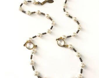 Vintage Miriam Haskell Faux Pearl and Bezel Beaded Necklace