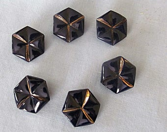 Vintage Black Glass Buttons, Gilt Accents, Six-Sided, Set of Six
