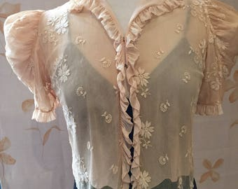 1940s cream Silk chiffon and embroidered net lace blouse jacket with puff sleeves and ruffle edging