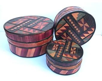 Bamboo Storage Boxes -- Round Bamboo Boxes -- Bohemian Storage Boxes -- Bohemian Boxes -- Southwestern Storage -- Southwestern Decor