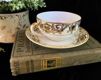 Noritake, Christmas Ball, Noritake Christmas Ball, Vintage Flat Bouillon Cup, Gold Encrusted Cup, Vintage Cup and Saucer