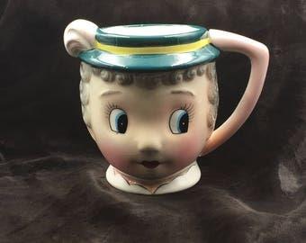 PY Coronet, Gay 90's, Gay 90's Line, Made in Japan, Vintage Mug, Hand Painted, Figural Ladies Head Cup, Woman's Head Mug