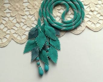 Tie Necklace, Turquoise Necklace, Beaded Lariat, Long Lariat Rope Necklace, Crochet Lariat, Unique Necklace, Beadwork Necklace