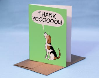 BEAGLE THANK YOU Card - Cartoon Beagle Thank You Card - Thank You Dog Beagle Card - Beagle Greeting Card