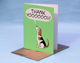 BEAGLE THANK YOU Card - Cartoon Beagle Thank You Card - Thank You Dog Beagle Card - Beagle Greeting Card