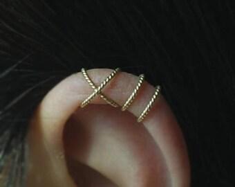 Ear cuff, Twisted pattern 14K Gold Filled Criss Cross   Earcuff, Cartilage earrings,Fake Conch Piercing,Boho Jewelry,No Piercing