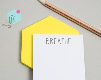 ON SALE Sticky Notes - Miniature Notepad - Mini Notepad - Office Stationery - 'Breathe' Sticky Notes -  Sticky Notes - Reminder Note - To Do