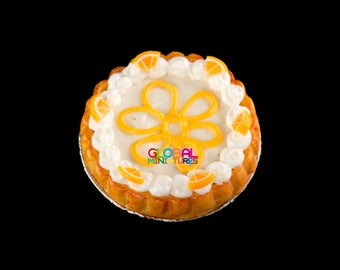 Dollhouse Miniatures Handcrafted Clay Sliced Orange Cream Top Round Tart on Aluminum Dish - 1:12 Scale