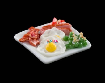 Dollhouse Miniatures Dish of Fried Egg and Bacon with Green Pea Breakfast Set Food Decorating Supply - 1:12 Scale