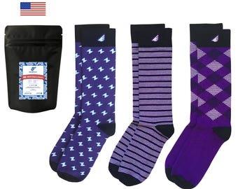 Christmas Gift Holiday Stocking Stuffer | 3-pack Fun Patterned Purple Socks for Men & Women | American Socks | Unique Mens Socks