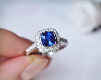 Cushion Sapphire Ring Sapphire Engagement Ring/ Wedding Ring 925 Sterling Silver Ring Anniversary Ring/ Birthday Gift