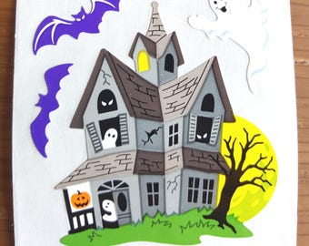 Sandylion Halloween Haunted House Semi Glossy Stickers - 3 repeat squares