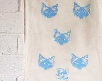 Blue cat drawstring pouch Cat Faces Pickle Birman Ragdoll Cat Vintage Calico Prospectors bag
