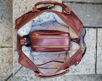 Leather duffel bag, Overnight bag, Weekender bag, Travel bag, Gym bag, Leather duffle bag - To the Lighthouse