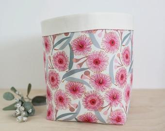 Australiana nursery decor. Extra large storage basket. Nursery storage. Flowering gum print. Baby shower gift. Laundry basket. Toy bin