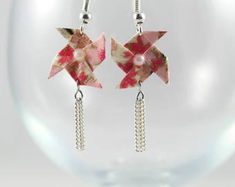 Origami - windmill - pink and gold - Origami - Japanese paper earrings