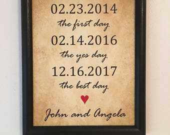 3rd Anniversary Gift, Gift For Husband, Gift for Wife, The First Day, Yes Day, Best Day, 3 Year Anniversary, FRAME Included, Personalized