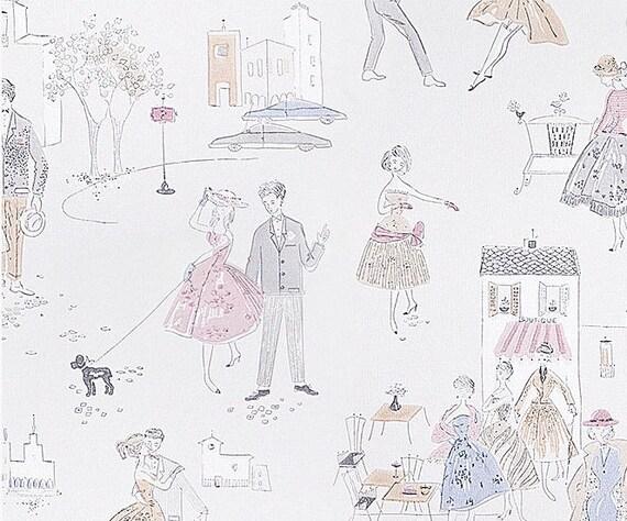 50er Jahre Retro Tapete pastell Petticoat Mädels / Teenager/
