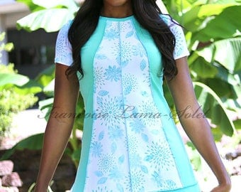 Hand printed colorblock a-line tunic top, asymmetrical jersey tunic short dress, modern urban top, mint white t-shirt dress, artsy clothes